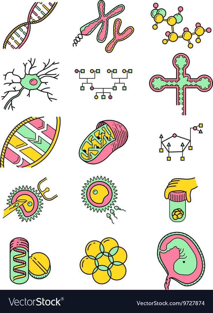 Science icons set with genetic and microbiologic o vector
