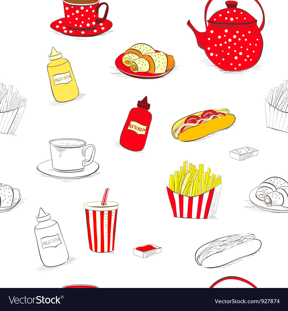 Seamless wallpaper with a lot of food vector