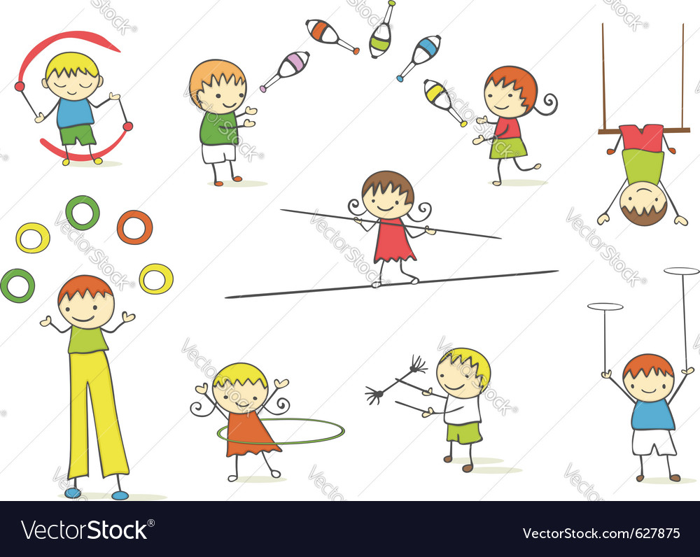 Juggling kids vector