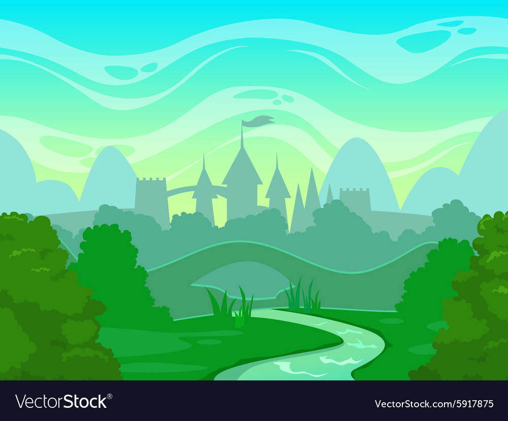 Seamless cartoon fantasy morning landscape vector