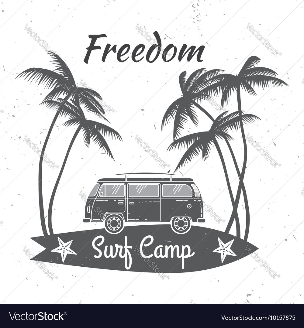 Surf camp concept summer surfing retro badge vector