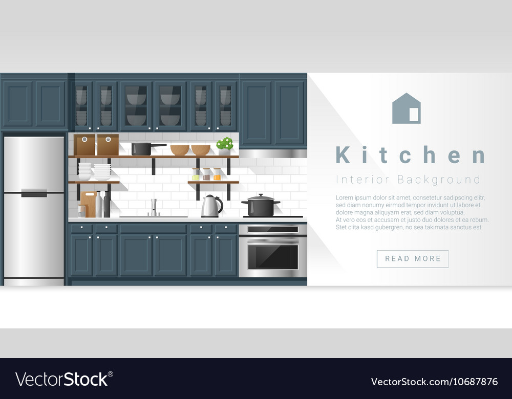 Interior design modern kitchen background 4 vector