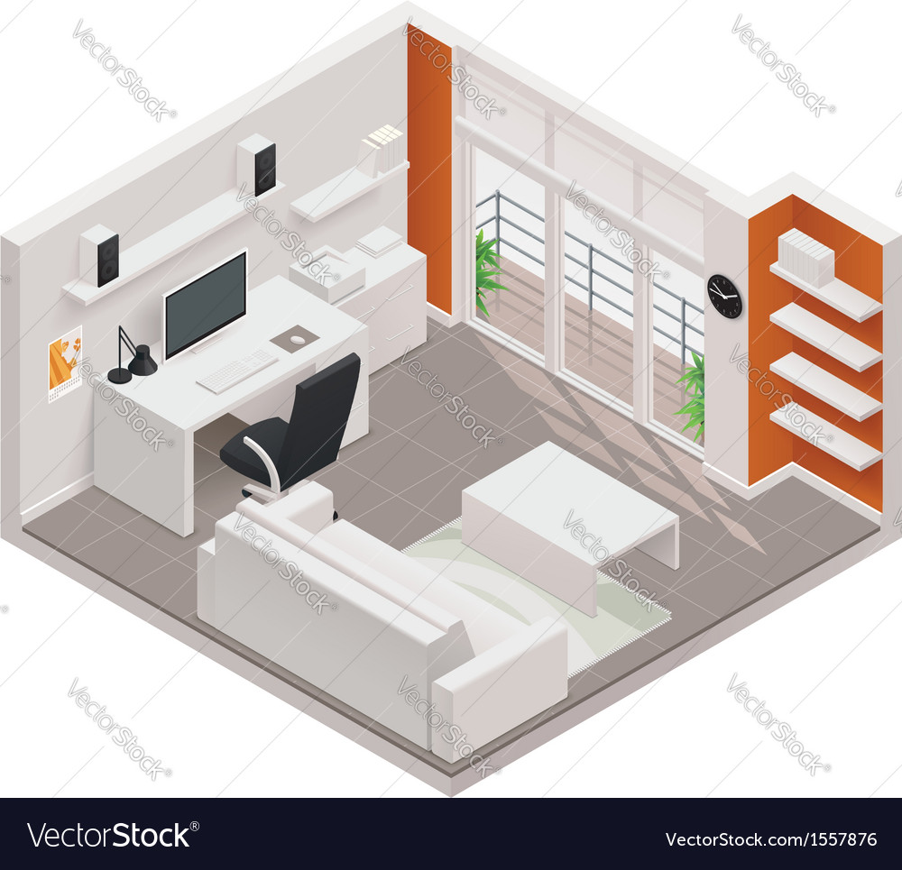 Isometric working room icon vector