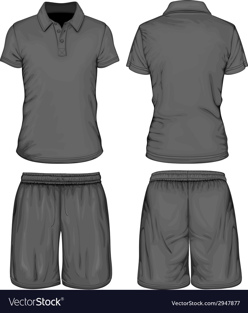 Mens poloshirt and sport shorts vector