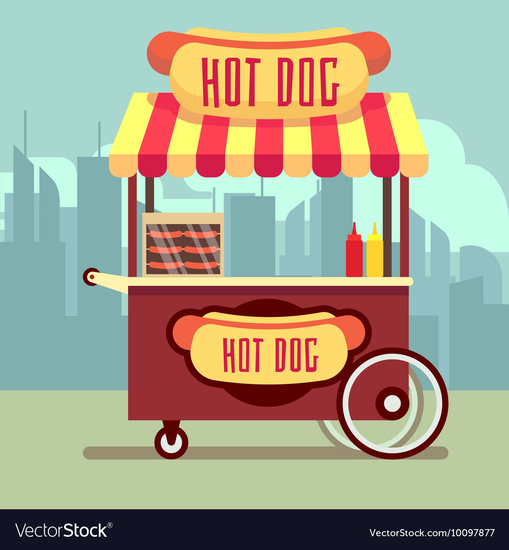 Street food vending cart with hot dogs vector