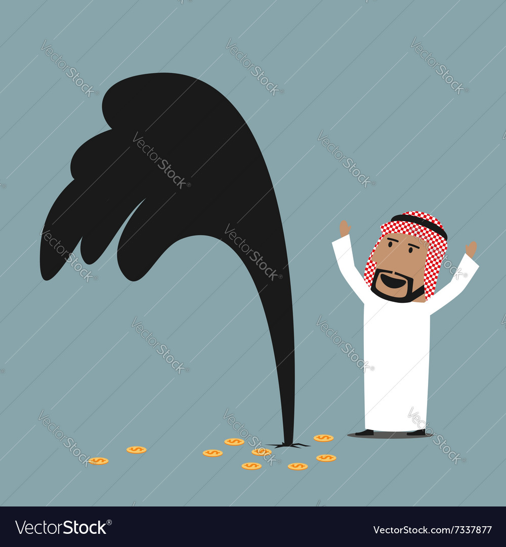 Wealthy arabian businessman with oil gusher vector