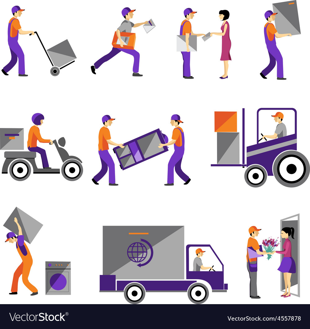 Delivery courier service person freight logistic vector