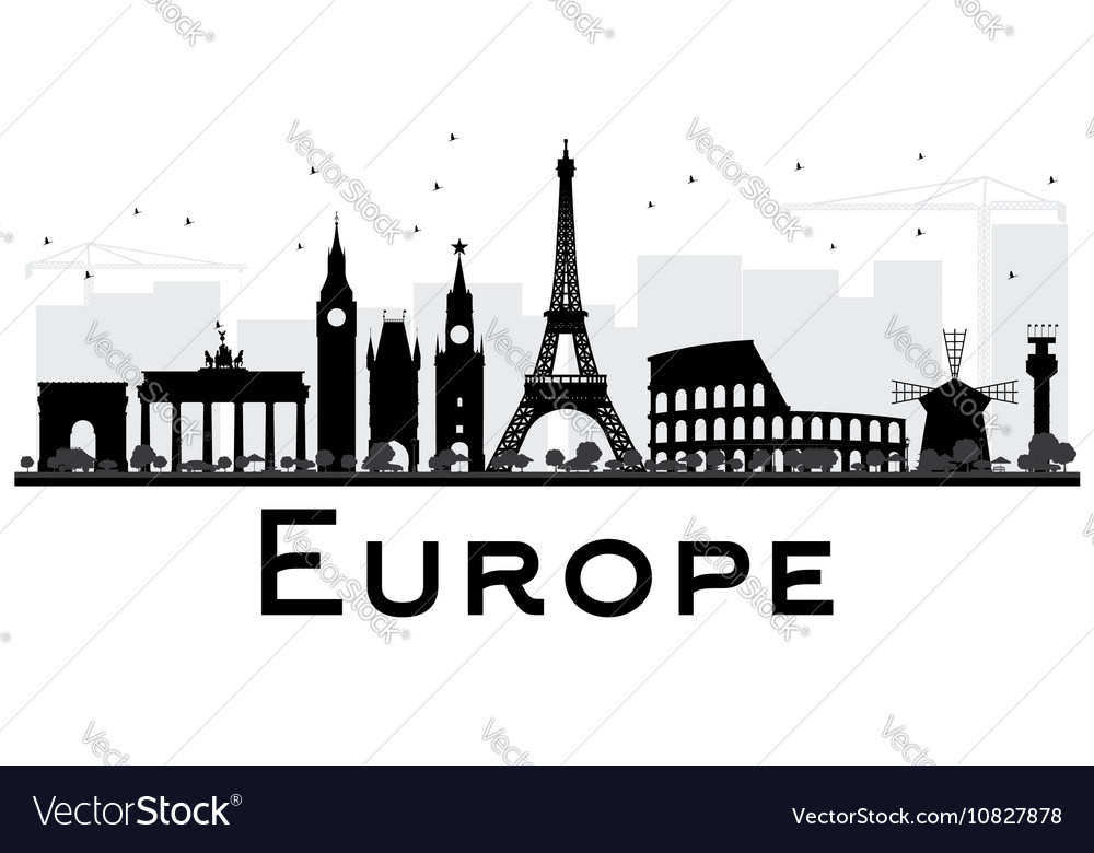 Europe skyline silhouette with landmarks vector