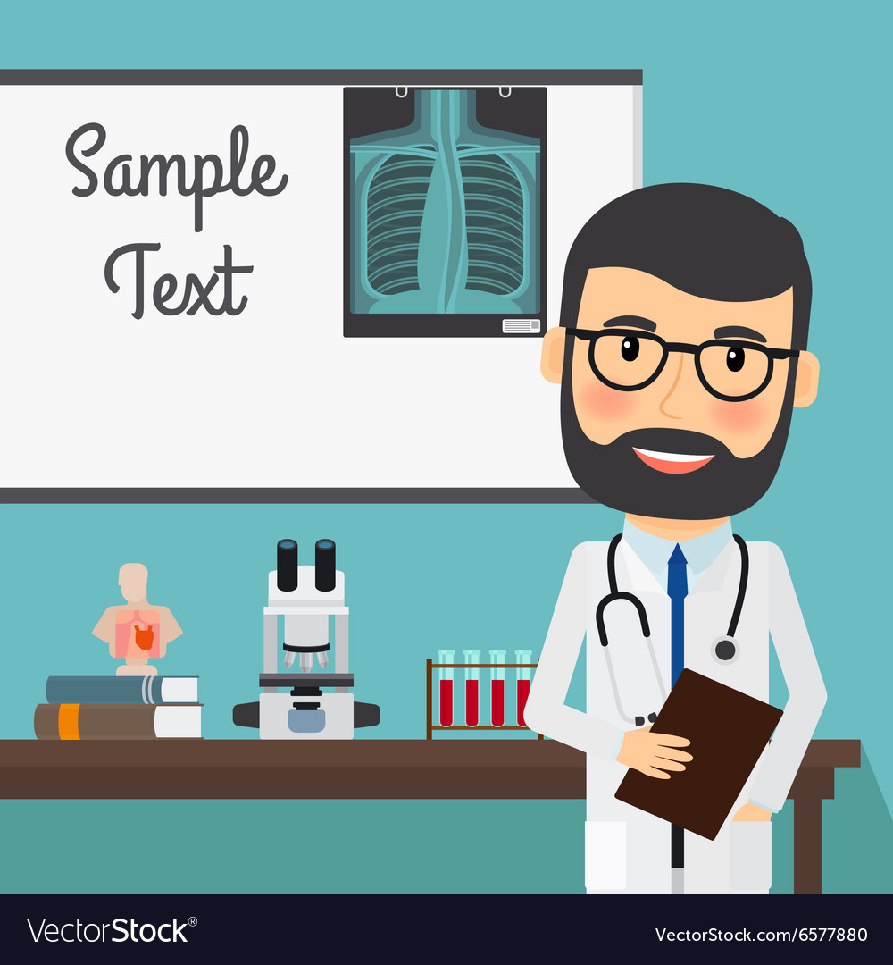 Doctor with xray and medical equipment vector
