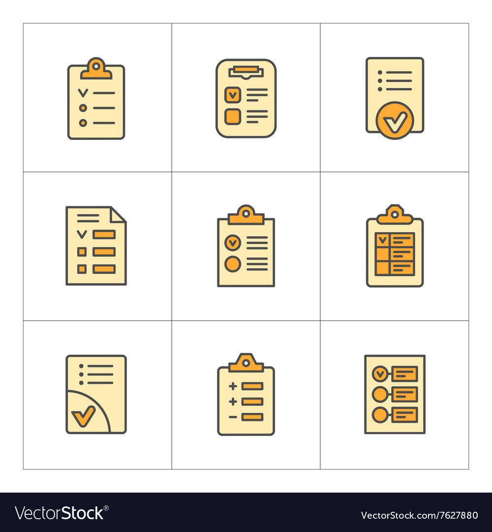 Set color line icons of checklist vector