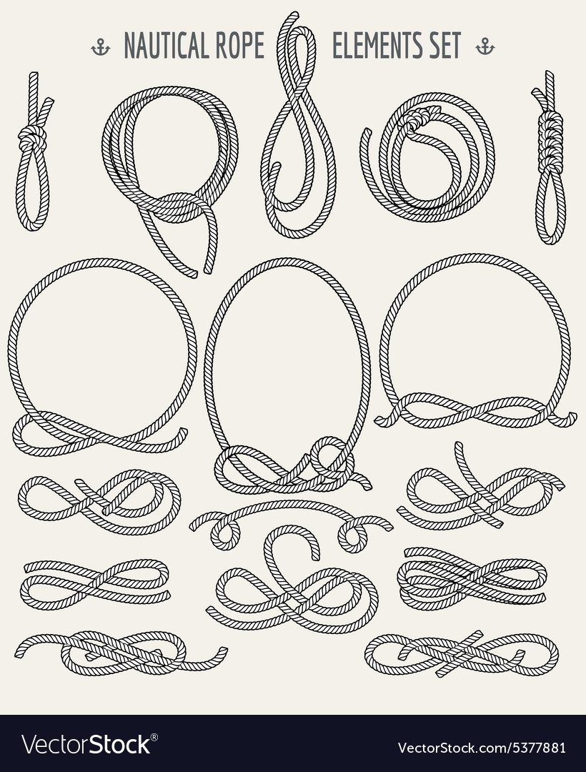 Nautical rope elements set vector