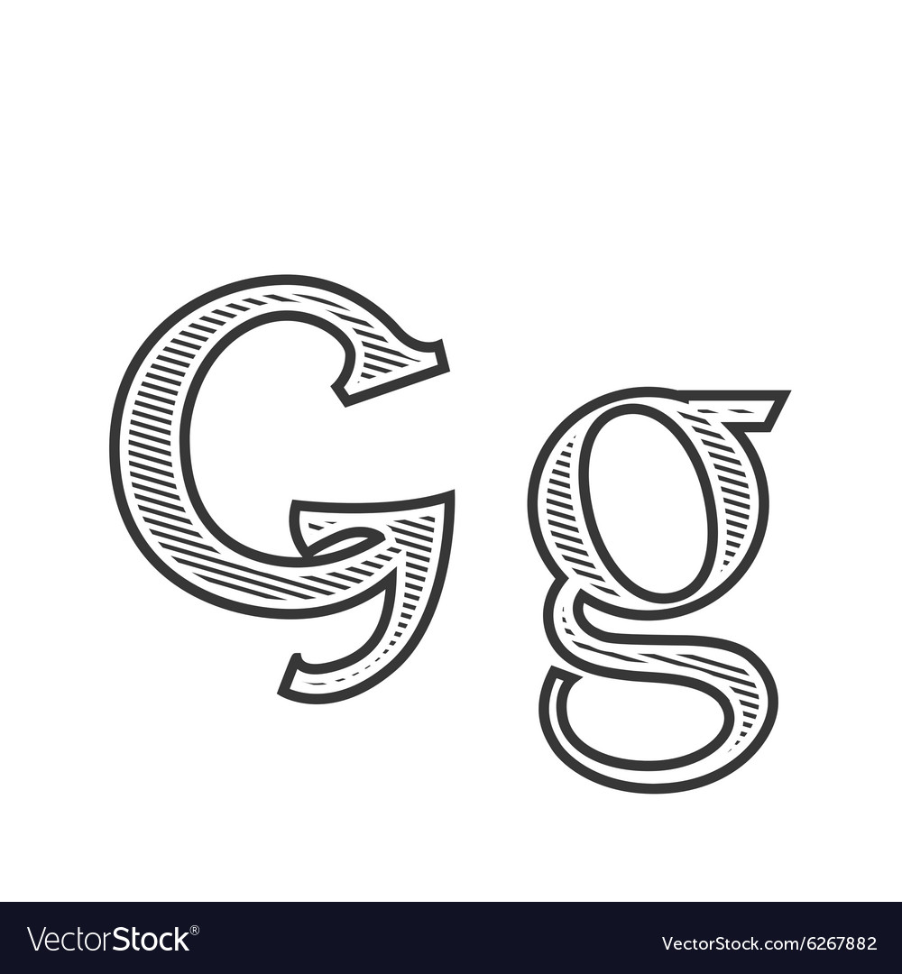 Font tattoo engraving letter g with shading vector