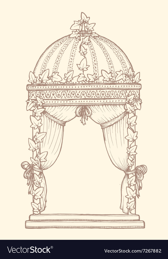 Ivycovered wedding gazebo vector