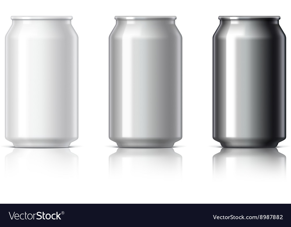White black and gray aluminum cans vector