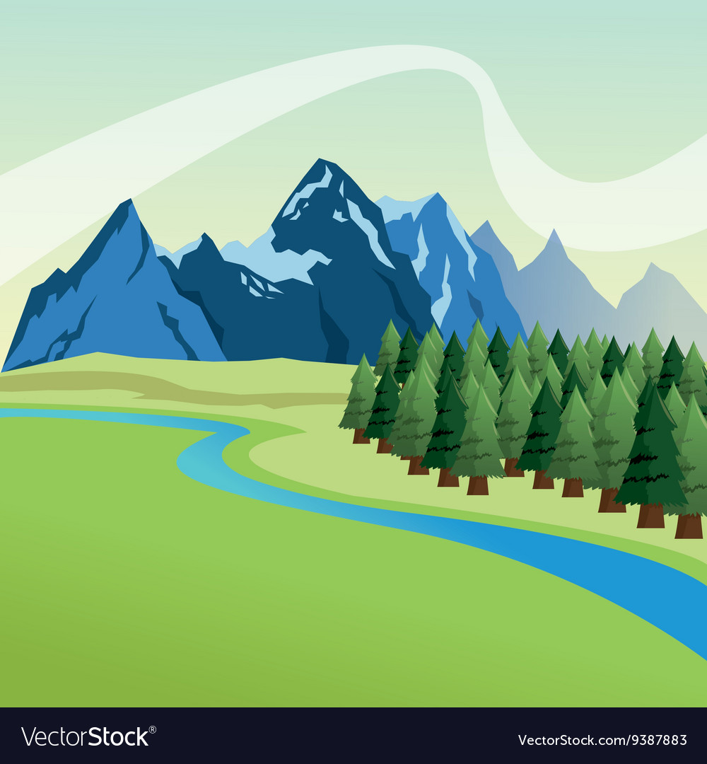Landscape with pine trees and mountains design vector