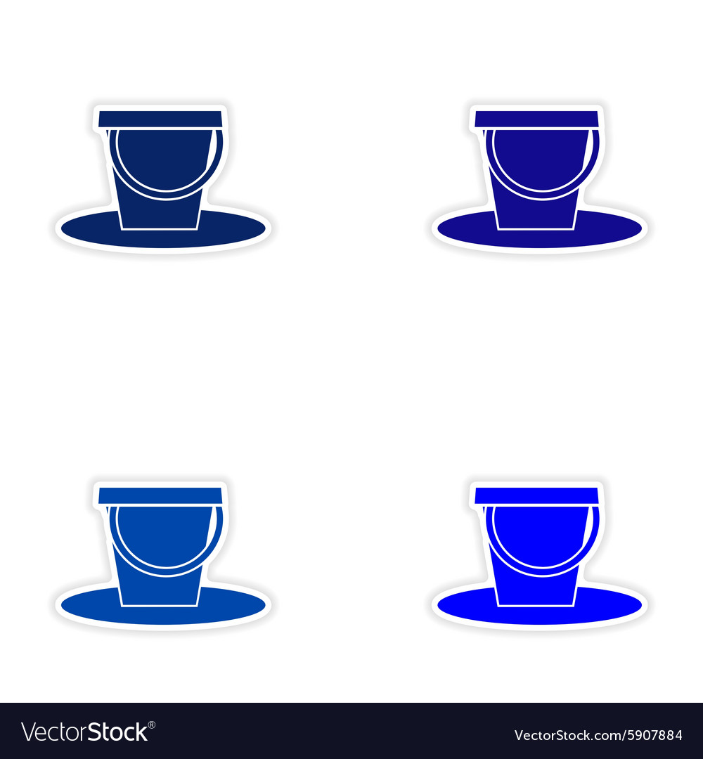 Assembly realistic sticker design on paper pail vector