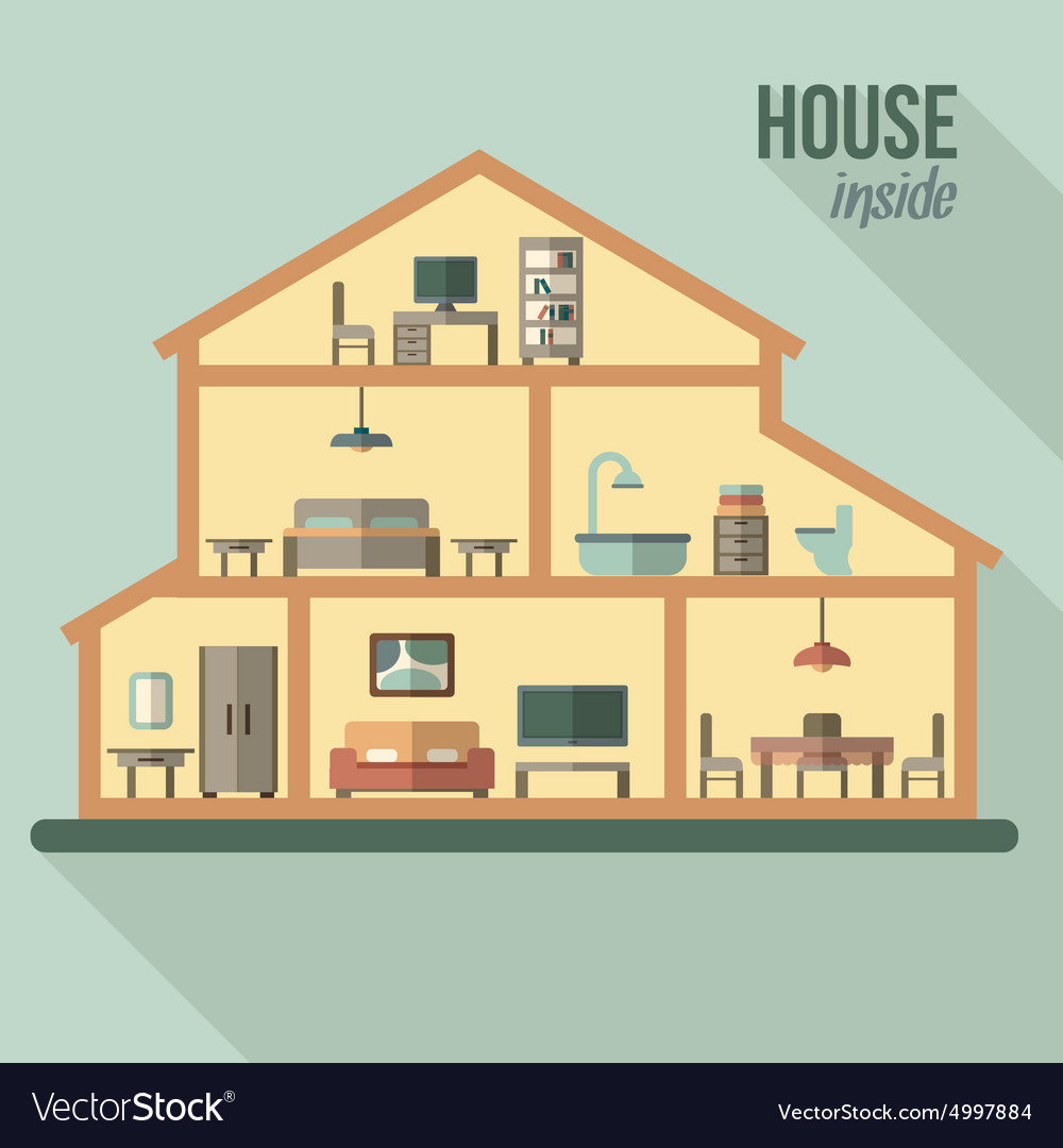 House in cut detailed modern house interior vector