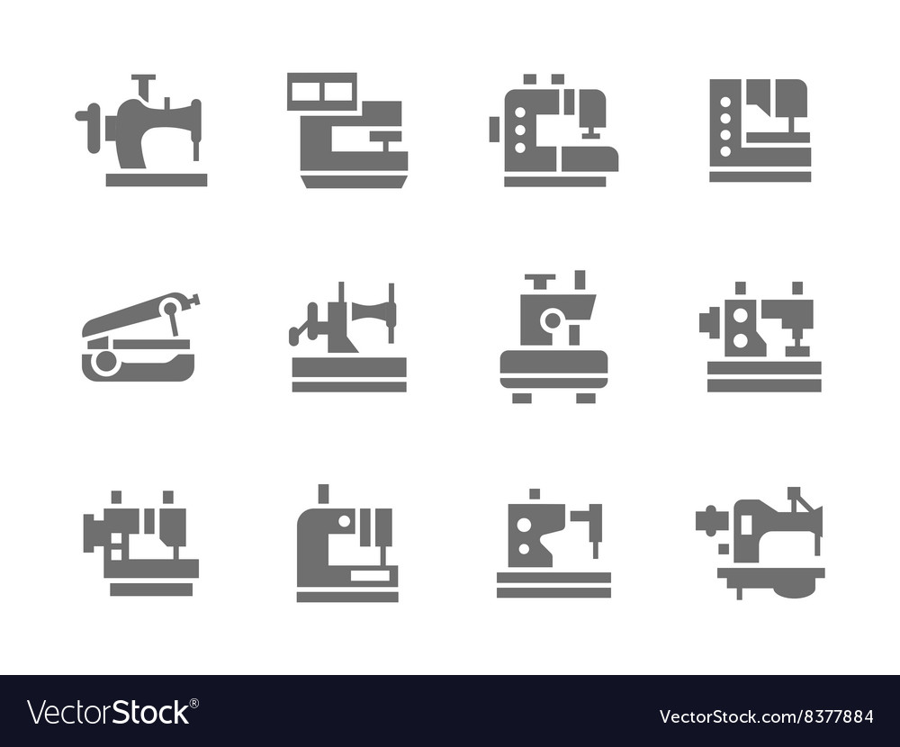 Simple glyph sewing machines icons set vector