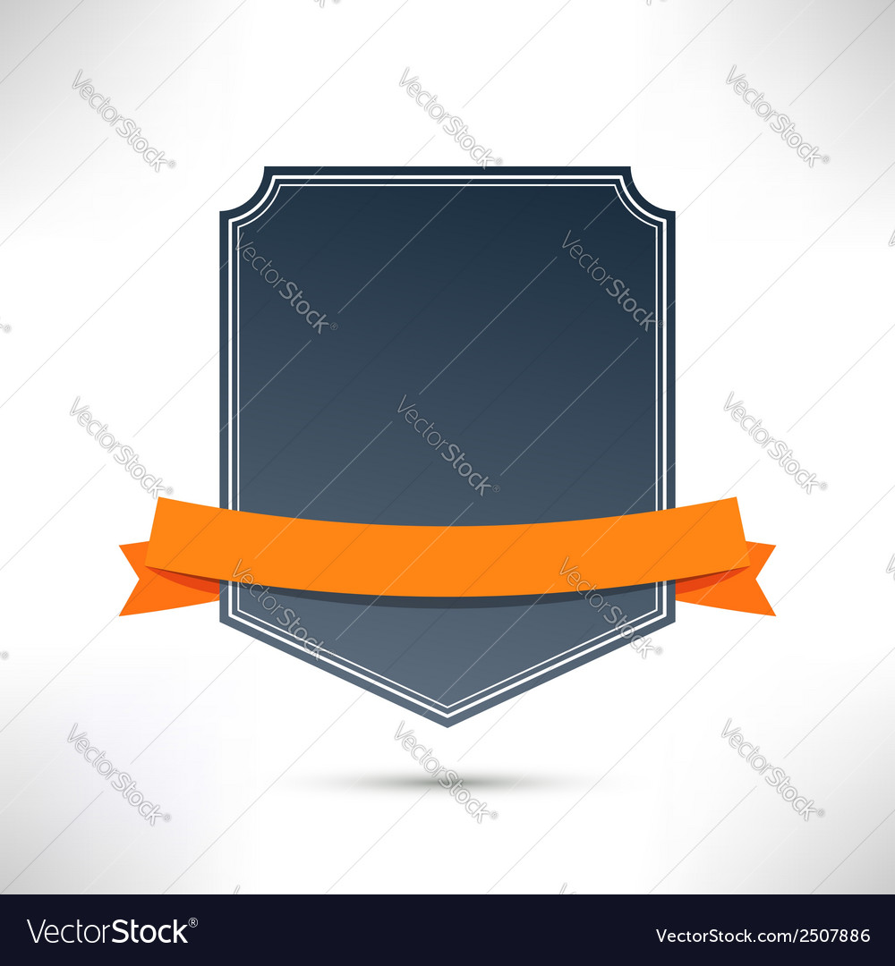 Badge with orange flat ribbon template vector