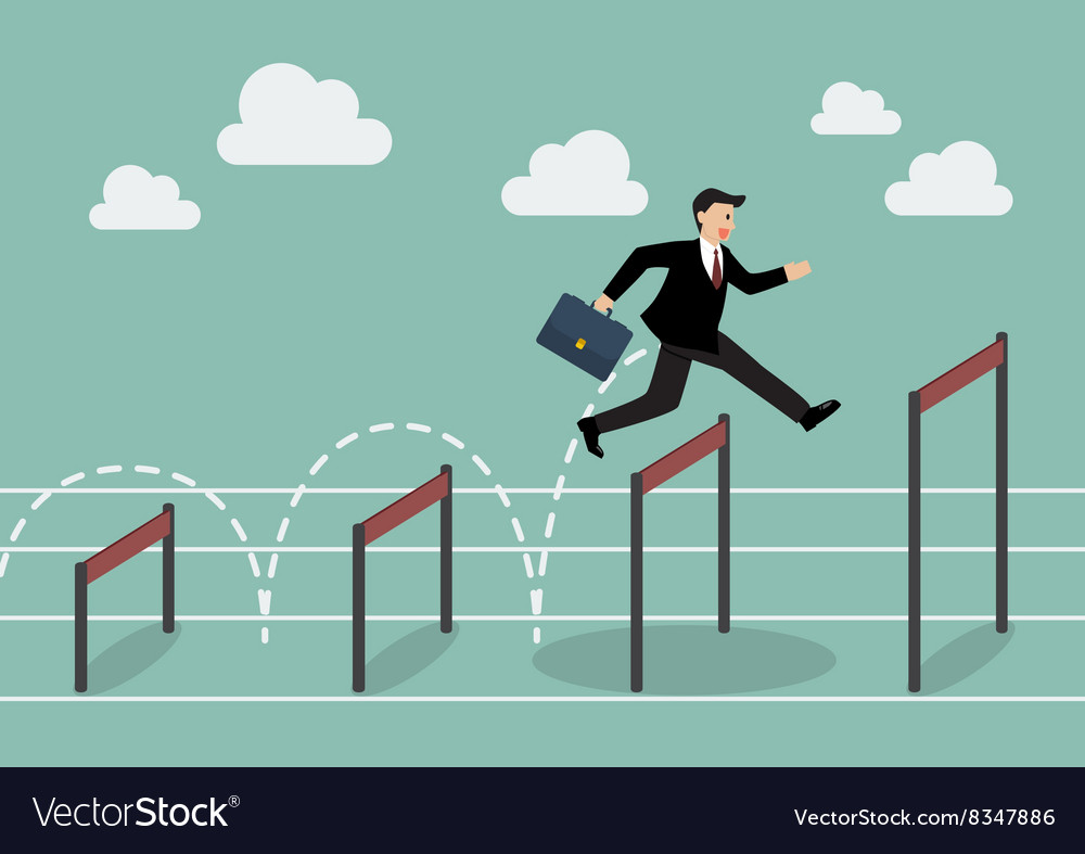 Businessman jumping over higher hurdle vector