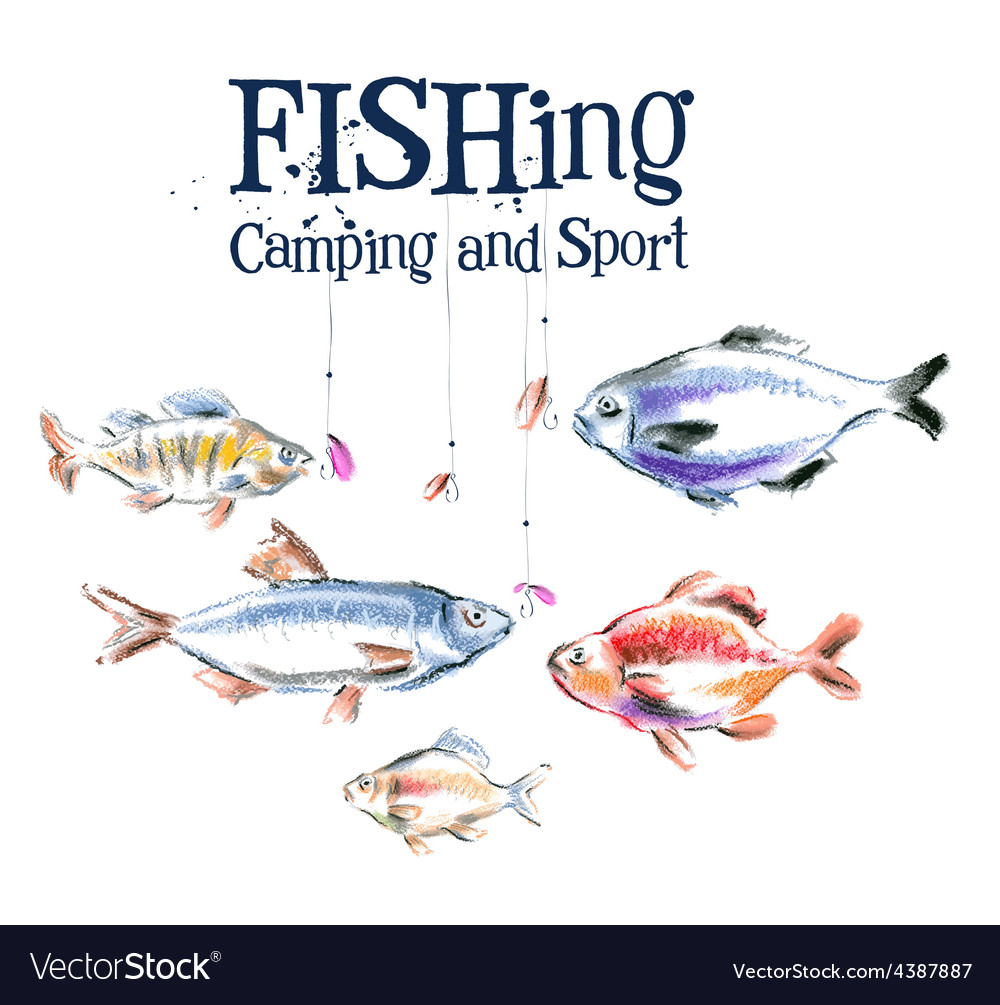 Fish logo design template fishing or vector