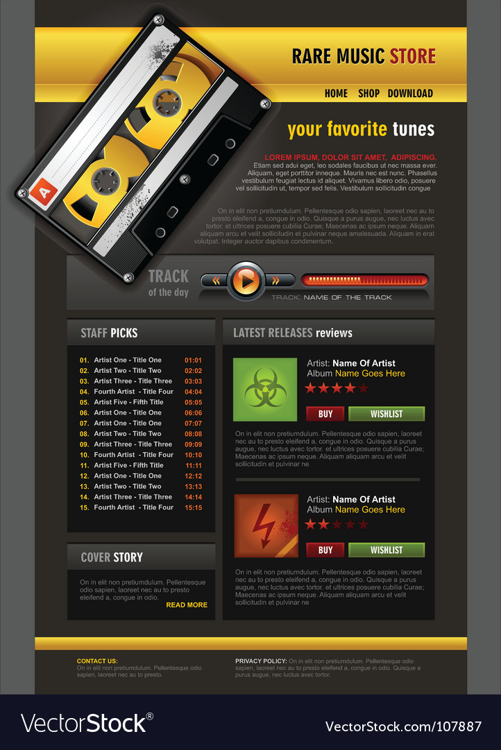 Music store brochure vector