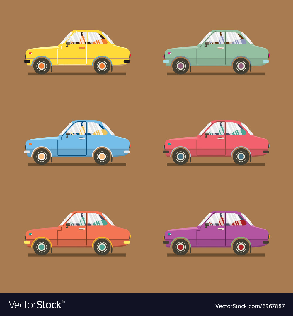 Side view of colorful sedan cars vector
