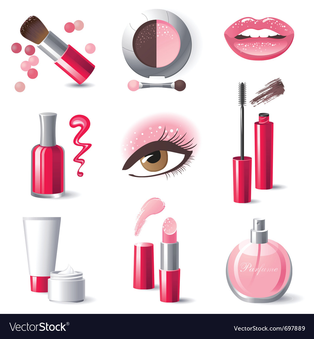 Glamourous makeup icons set  vector