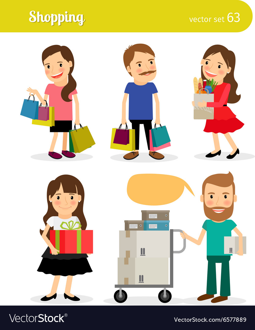 Shopping people with basket and cart vector