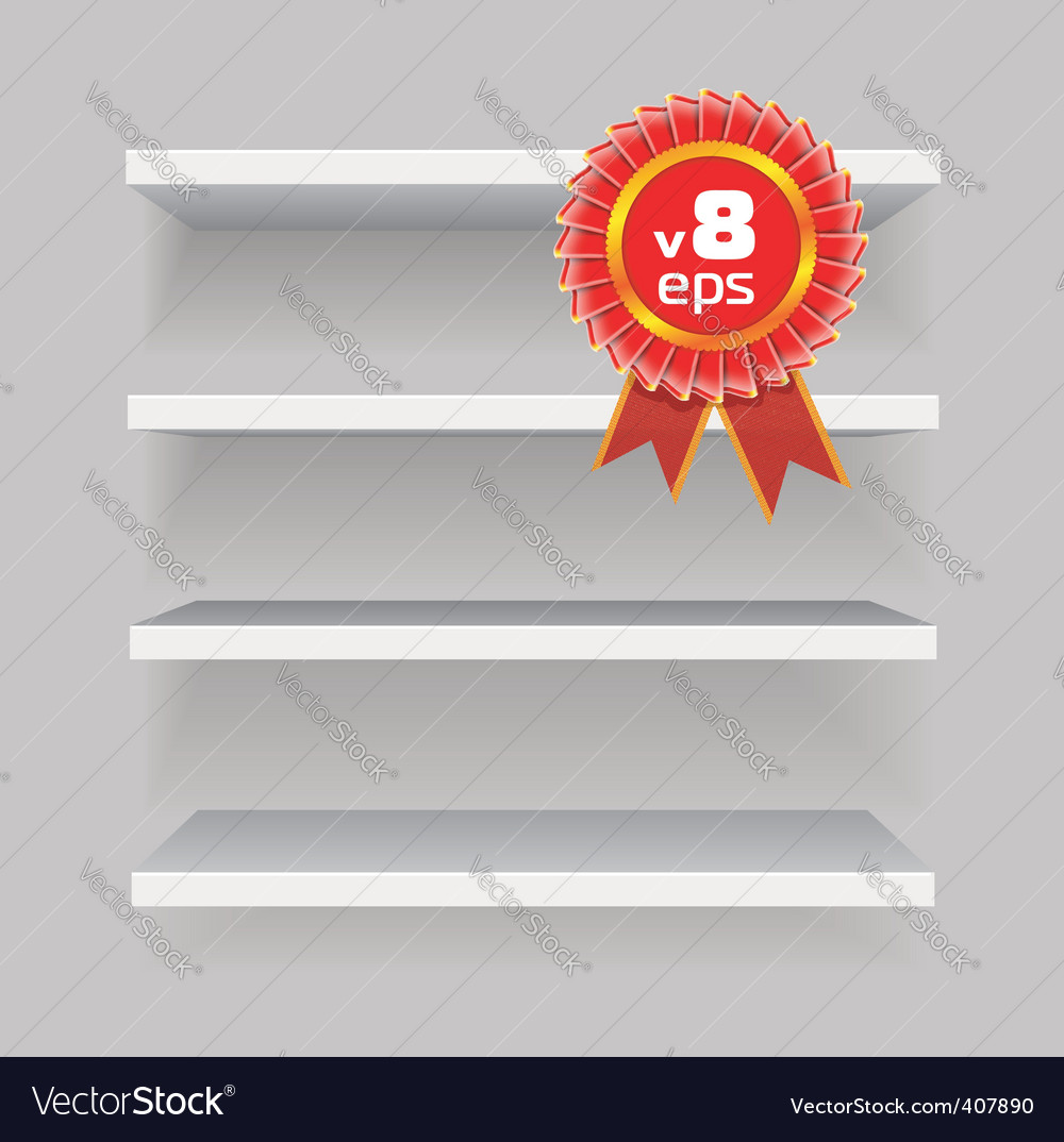 Shelves on gray background vector