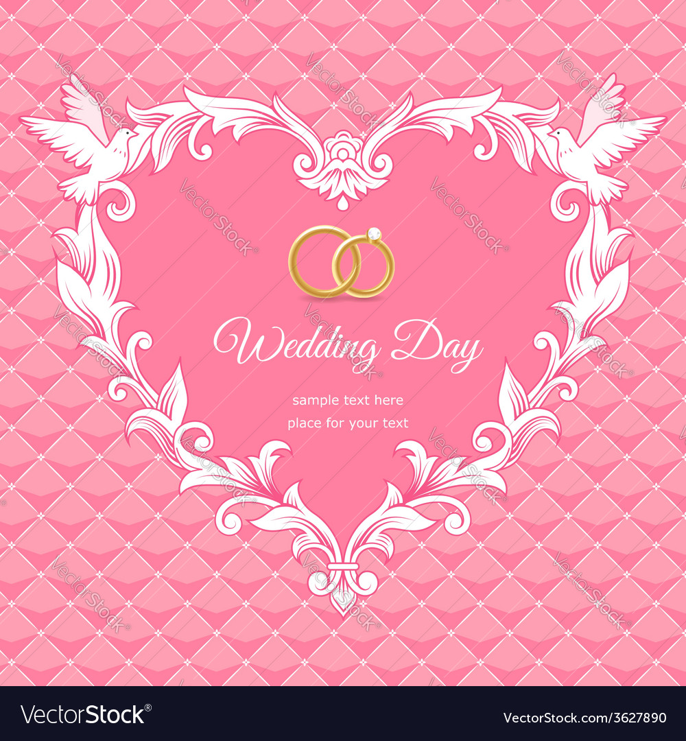 Wedding heart frame pink vector