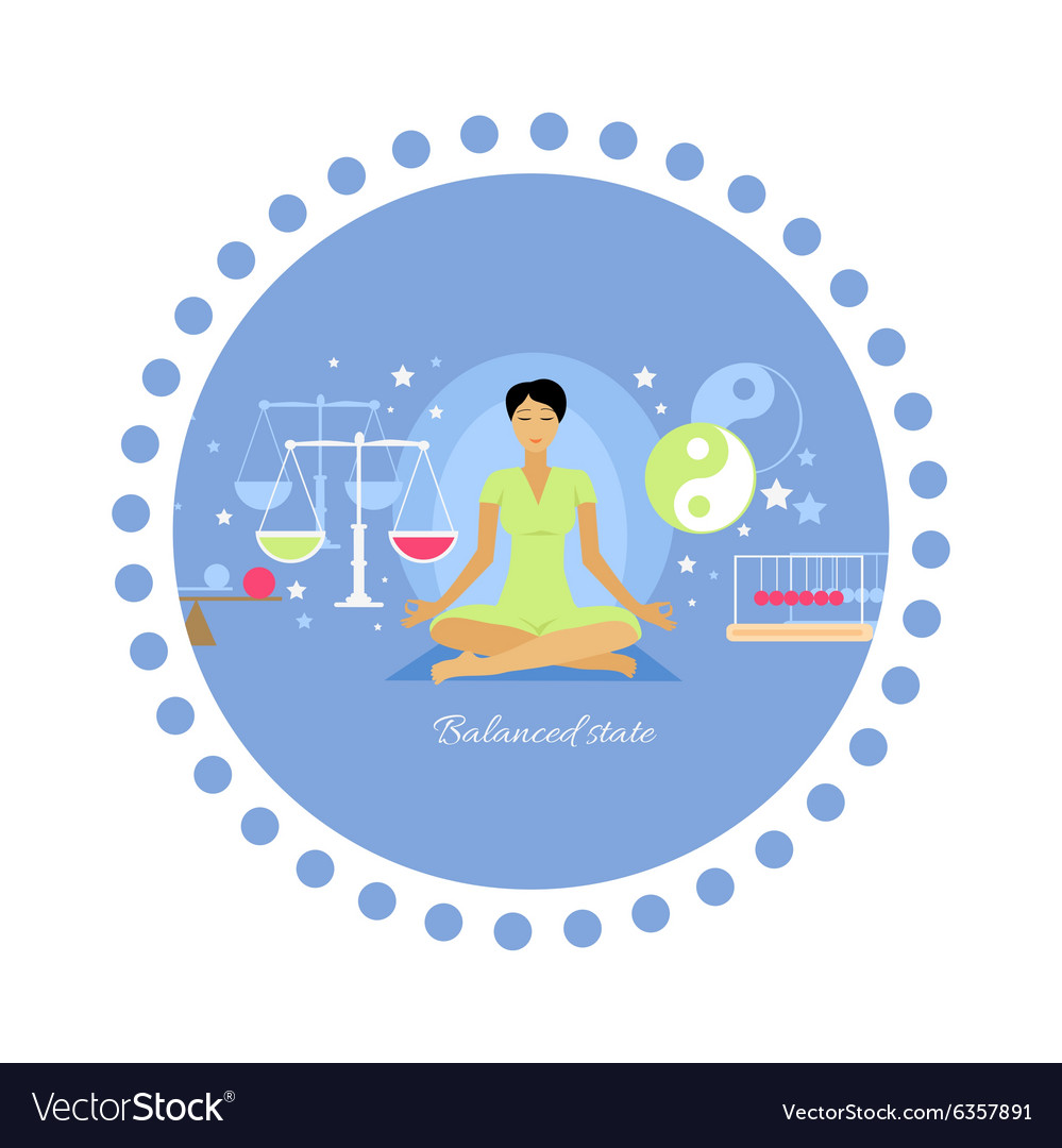 Balanced state woman icon flat isolated vector