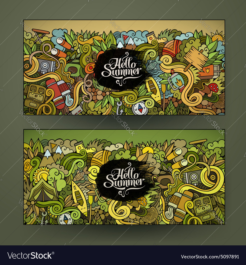 Banner templates set with doodles camping theme vector