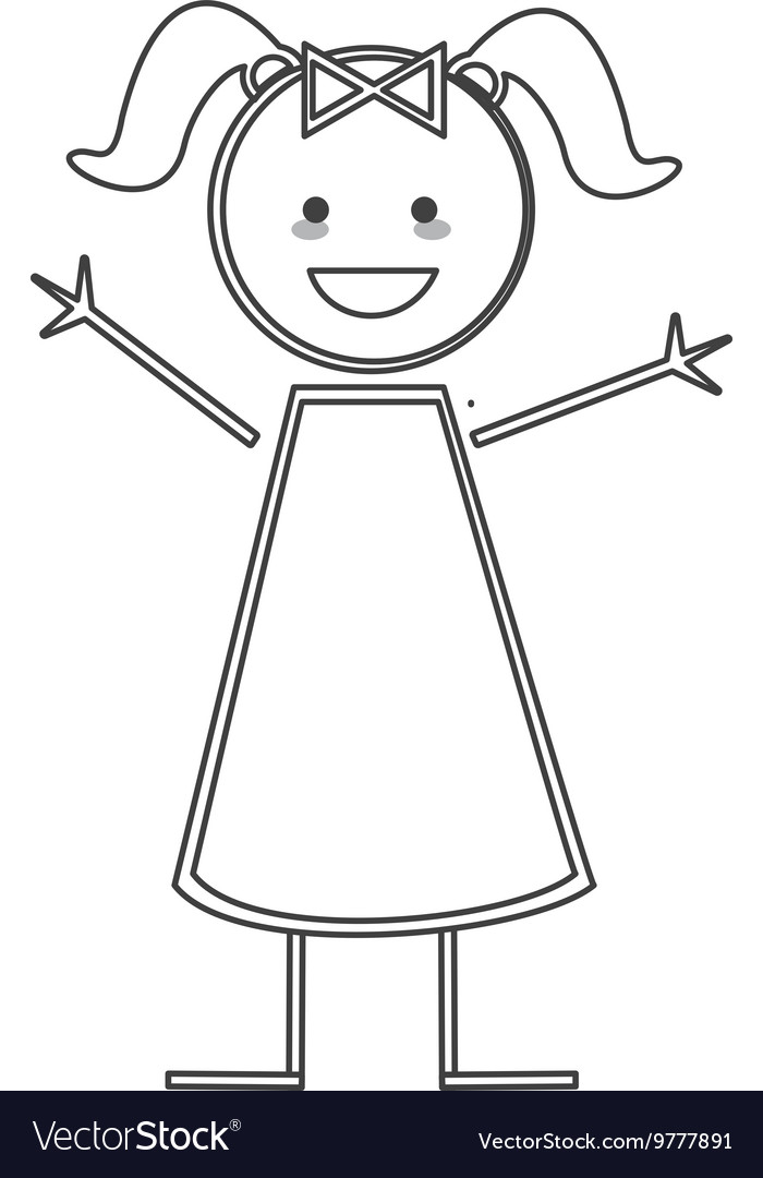 Happy girl with pigtails icon stick figure vector