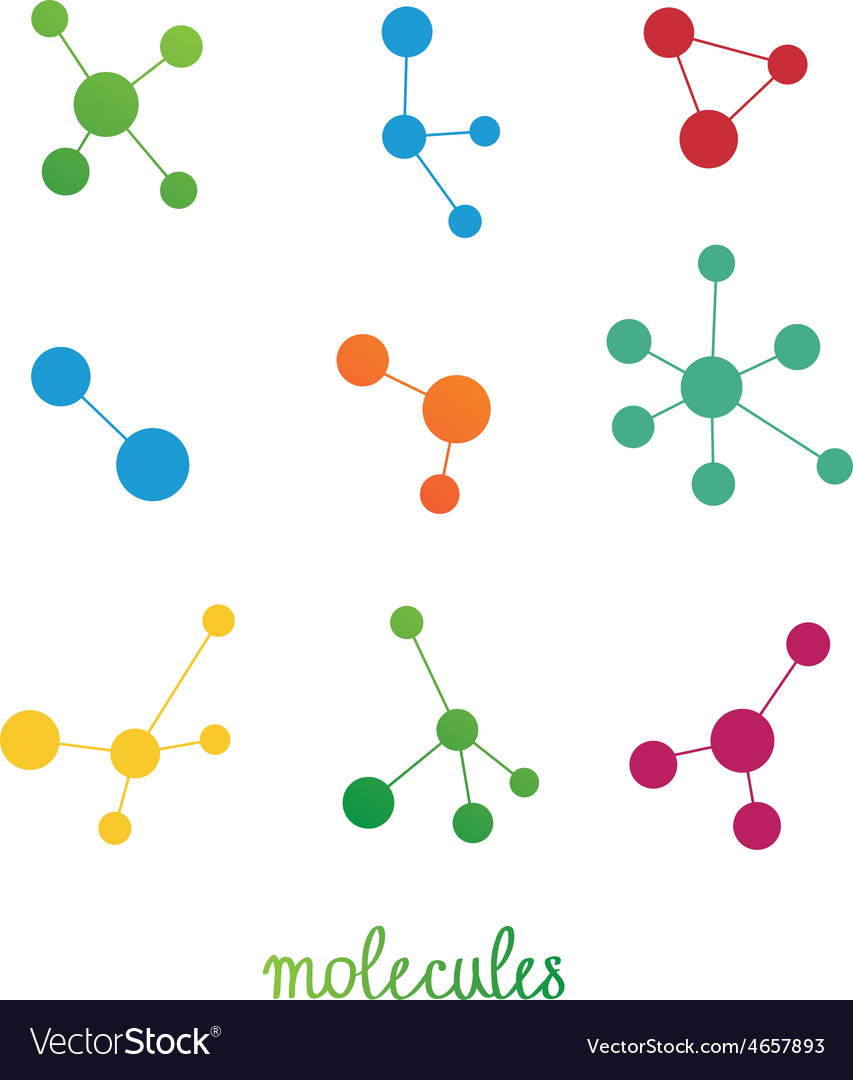 Multicolored molecules symbols set vector