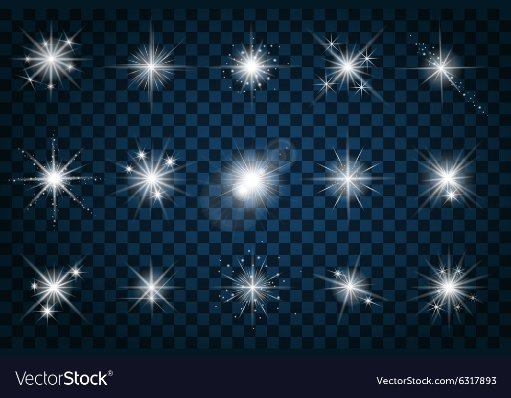 Shine stars with glitters and sparkles vector