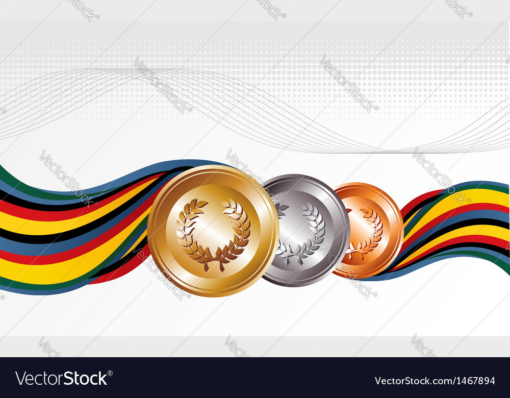 Gold silver bronze medals vector