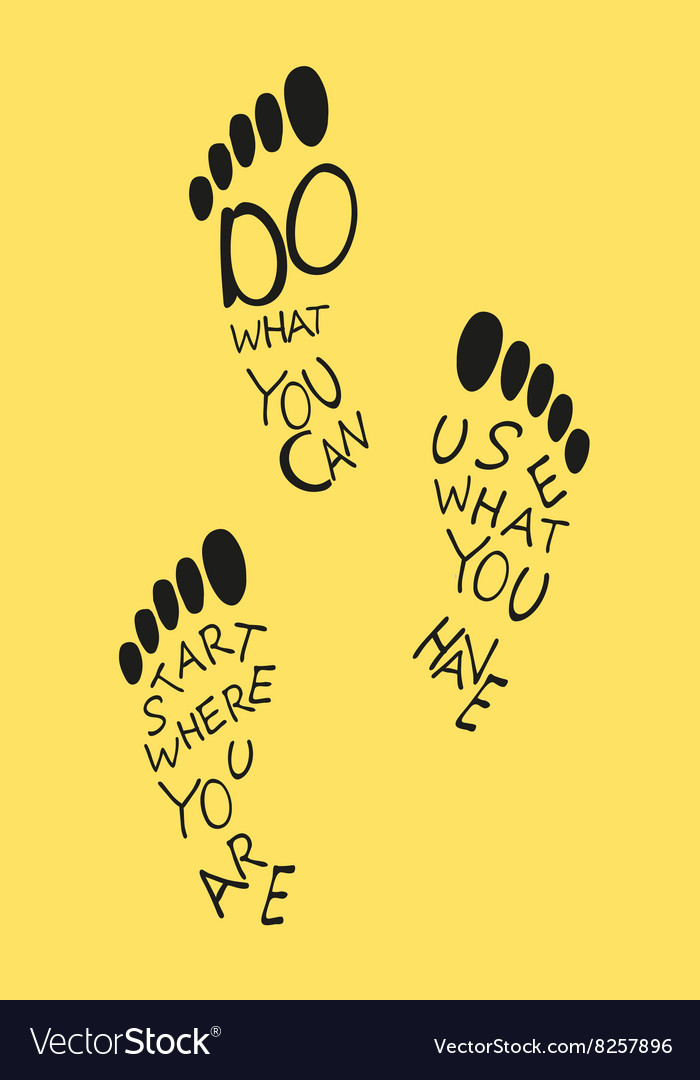 Footprints of human with quote vector