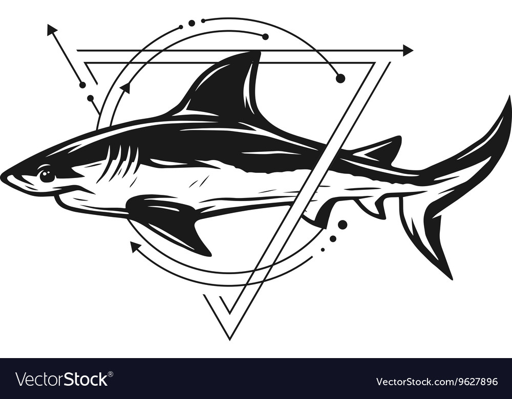 Shark on background of geometric elements vector