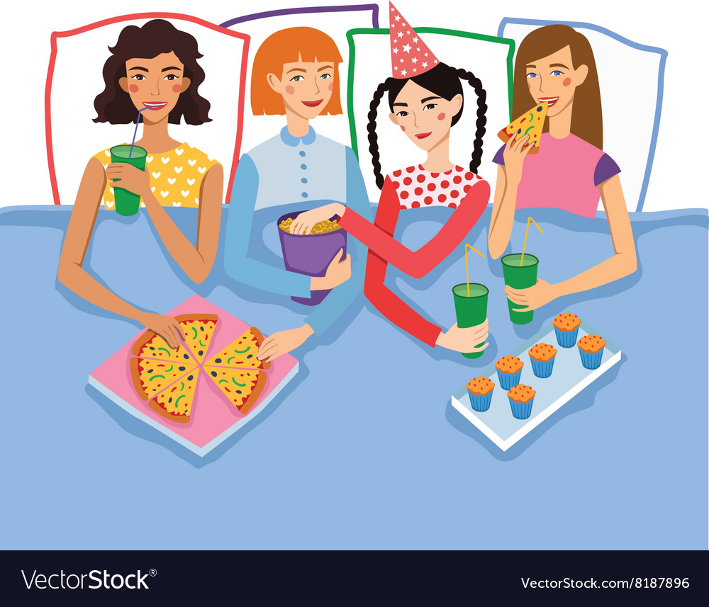 Slumber party with four cute girls friends vector