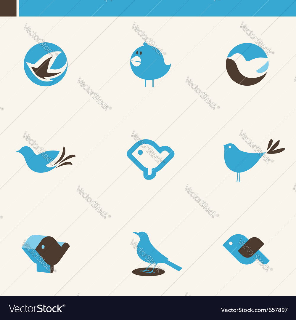 Blue birds  icon set vector