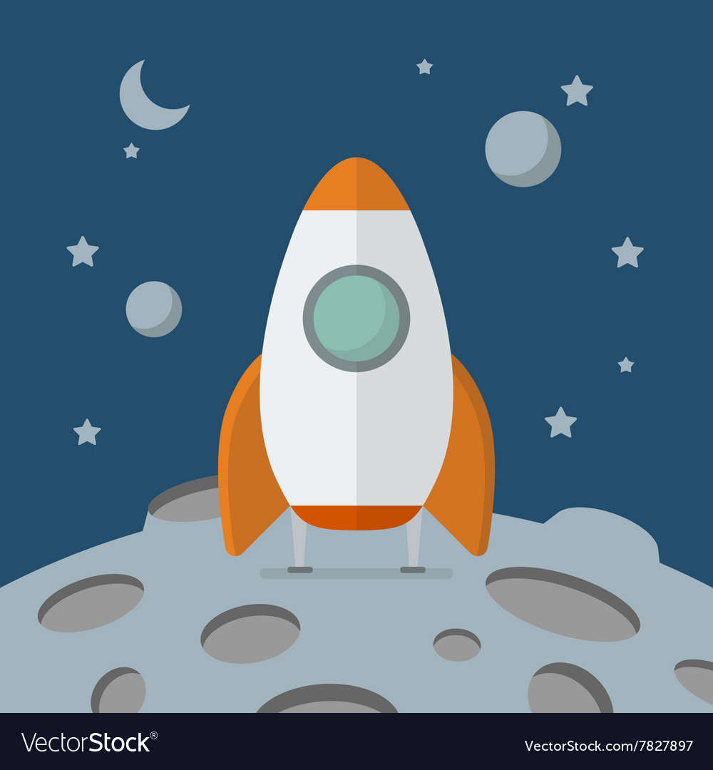 Rocket landed on the moon vector