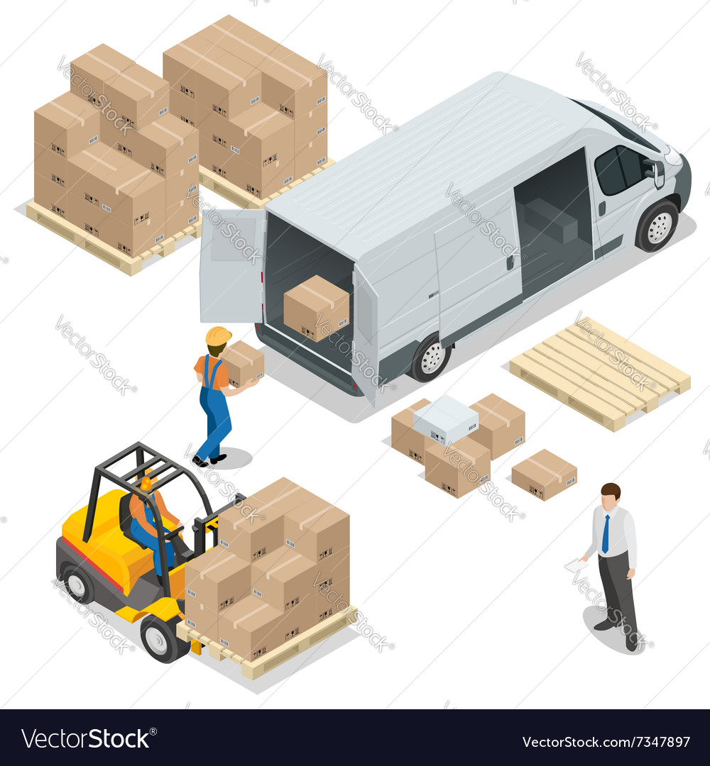 Warehouse loading and unloading from warehouse vector
