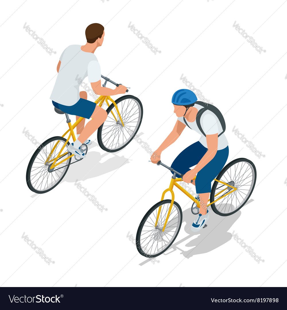 Cyclists on bikes people riding bikes bikers and vector