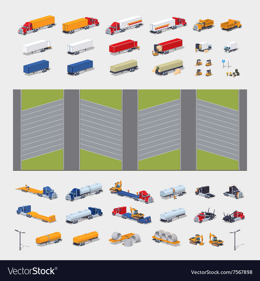 Heavy trucks parking lot constructor vector