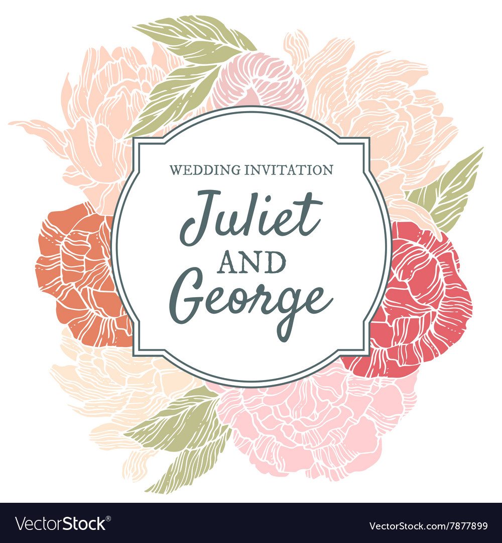 Wedding invitation card with peonies vector