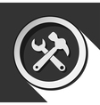 icon - claw hammer with spanner and shadow vector image