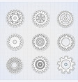 gears black white icons set vector image