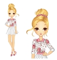 Girl In Romantic Style Dress vector image