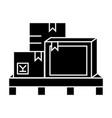 boxes cargo logistics icon vector image